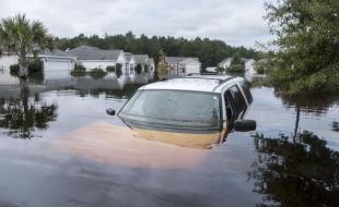 Le quartier Polo Farms en Caroline du Sud est en grande partie sous l'eau le 24 septembre 2018, à cause de l'ouragan Florence. (Jason Lee/The Sun News via AP)