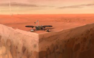 Dans cette illustration d'artiste de l'atterrisseur InSight de la NASA sur Mars, on peut voir des couches du sous-sol de la planète et des tourbillons de poussière à l'arrière-plan.