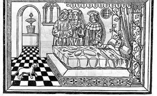 Gravure sur bois montrant un médecin au chevet d'un patient, en train de prendre son pouls et d'examiner son urine. [M. Silvaticus, Opus pandectarum medicine, Pavia, B. de Garaldis, 1521, verso de la page titre.  Image en provenance de Wikimedia Commons.]